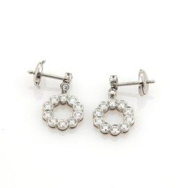 Tiffany & Co. Platinum 1.25ct Diamond Circle Drop Dangle Earrings