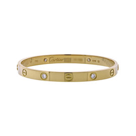 Cartier 18K Yellow Gold 4 Diamond Love Bracelet Size 17