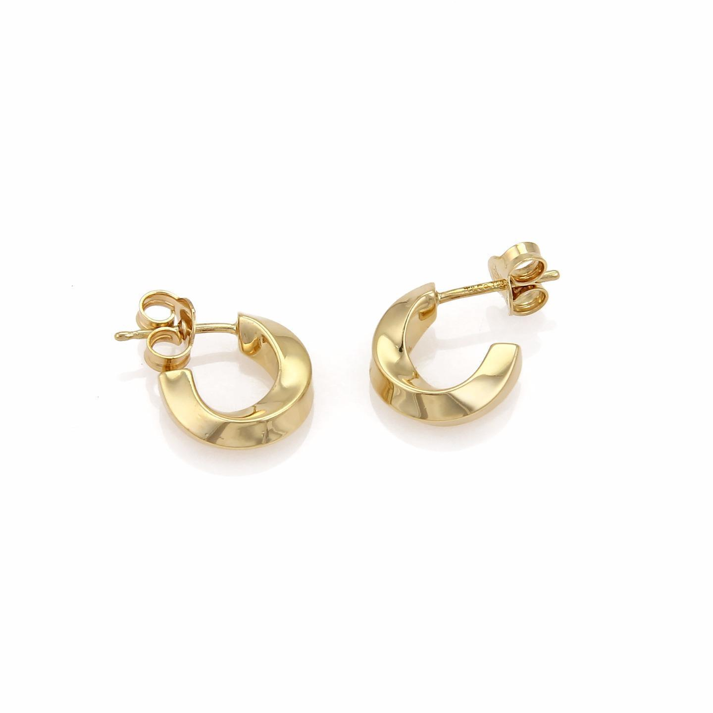 "Image of ""Tiffany & Co. 18K Yellow Gold Twist Design Small Hoop Earrings"""