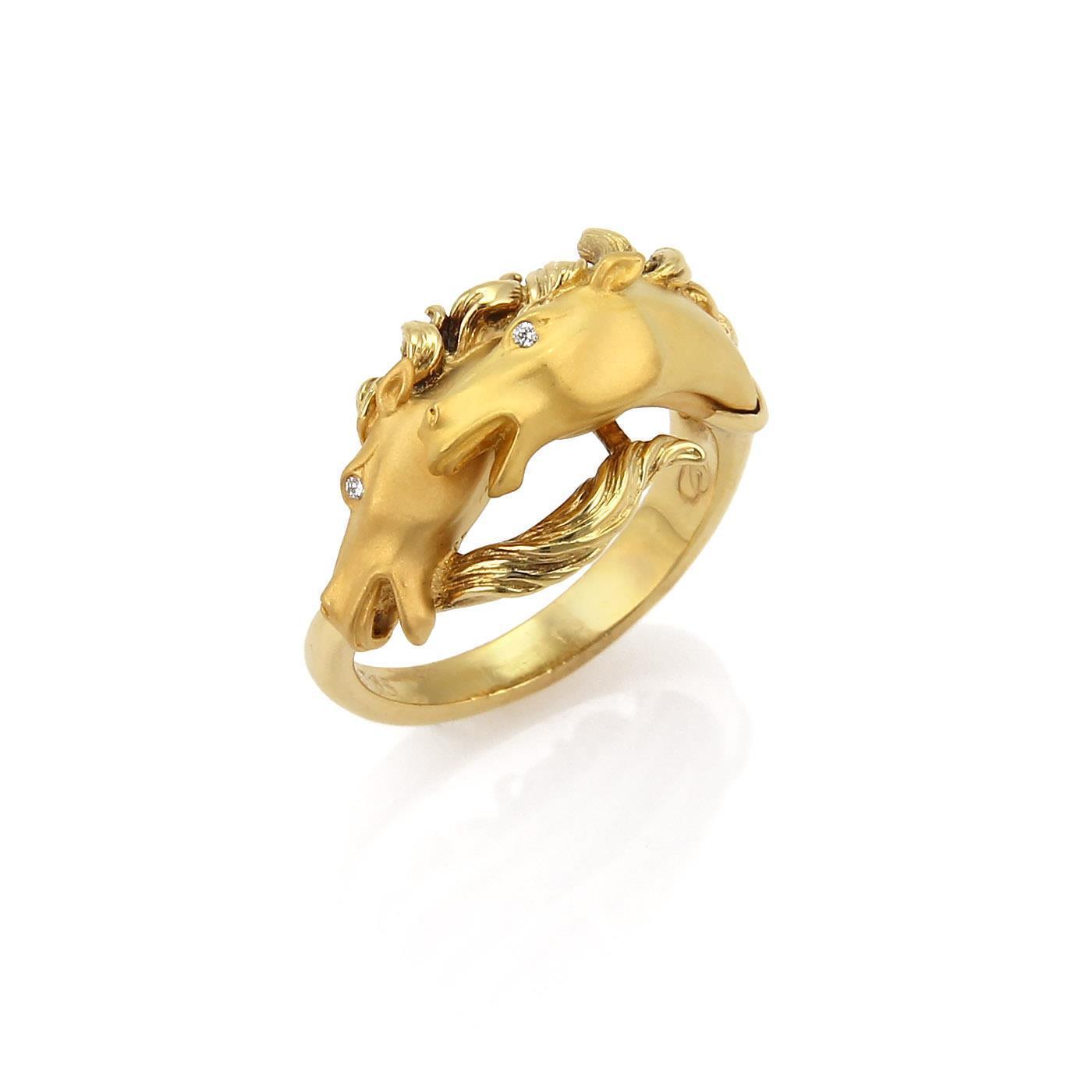 "Image of ""Carrera Y Carrera 18K Yellow Gold Diamond 2 Horse Head Ring Size 6.5"""