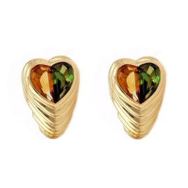 Bulgari 18K Yellow Gold with Citrine & Tourmaline Hearts Hoop Earrings