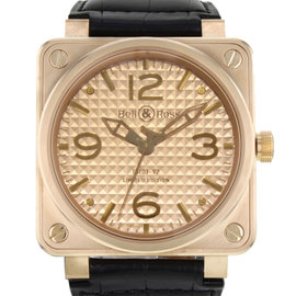 Bell & Ross Aviation BR0192-GOLD-INGOT 18K Rose Gold / Leather Automatic 46mm Mens Watch