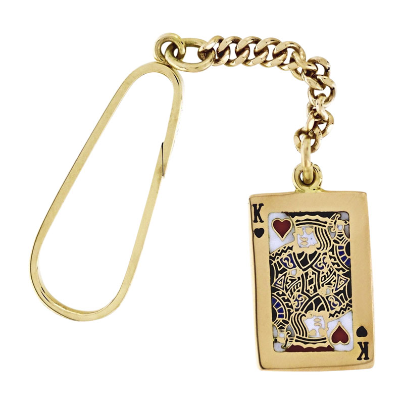 "Image of ""Tiffany & Co. 14K Yellow Gold Playing Card Key Ring Pendant"""