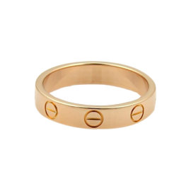Cartier Mini Love 18K Rose Gold Band Ring Size 5