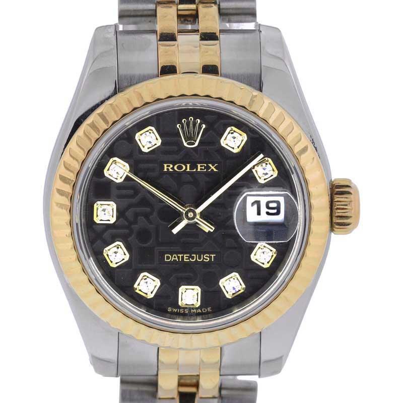 "Image of ""Rolex Datejust 179173 Black Jubilee Diamond Stainless Steel & 18K"""