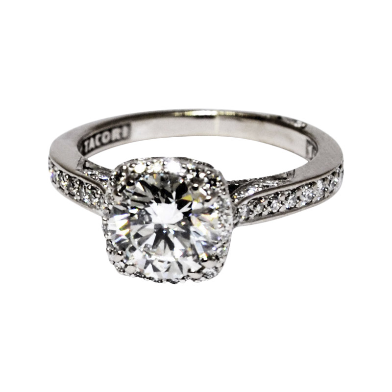 "Image of ""Tacori 18K White Gold & 1.14ct. Diamond Ring Size 4.25"""