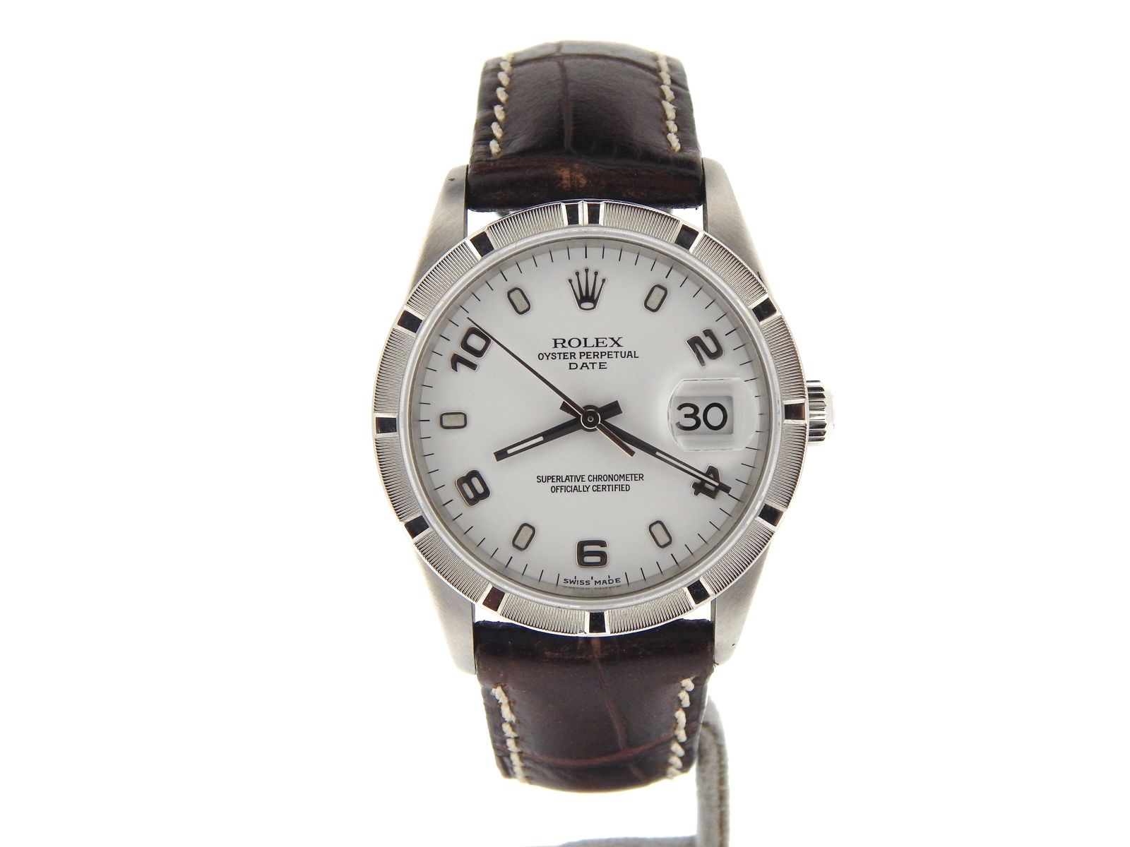 """Image of """"Rolex Date 15210 Stainless Steel & White Arabic Dial 34mm Mens Watch"""""""