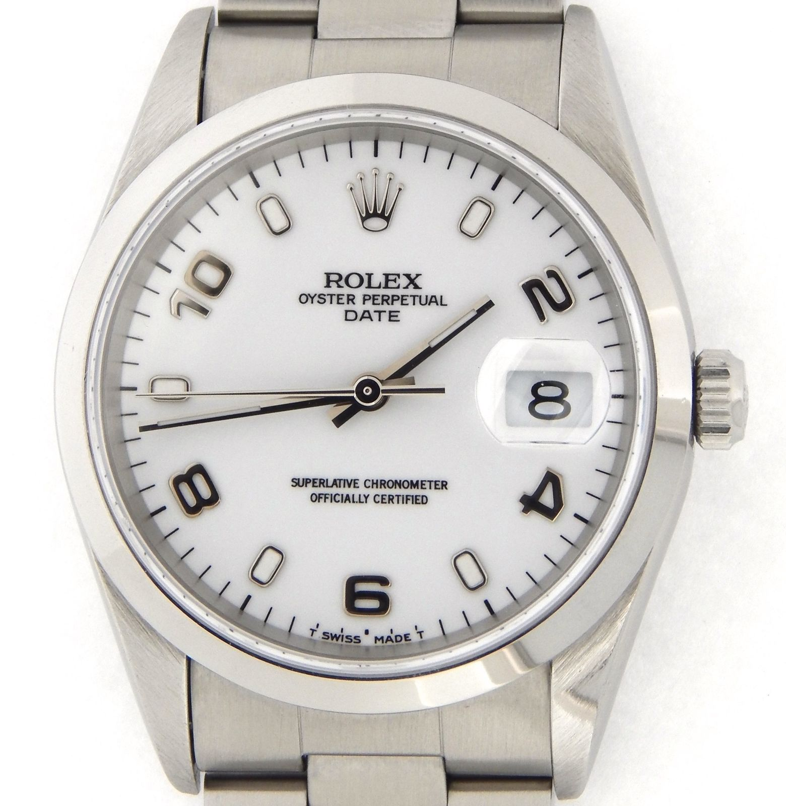 "Image of ""Rolex Date 15200 Stainless Steel & White Arabic Dial 34mm Mens Watch"""