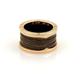 Bulgari B.zero1 18K Rose Gold with Brown Marble Band Ring Size 6