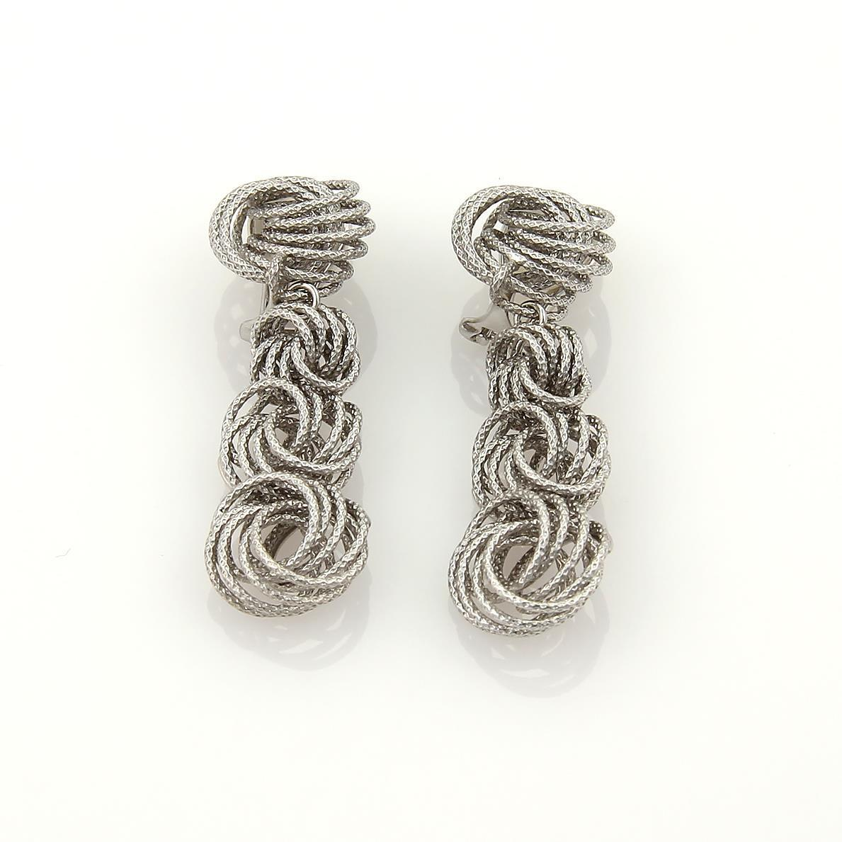 """Image of """"Buccellati Gianmaria Vintage 18K White Gold Knot Dangle Clip On"""""""