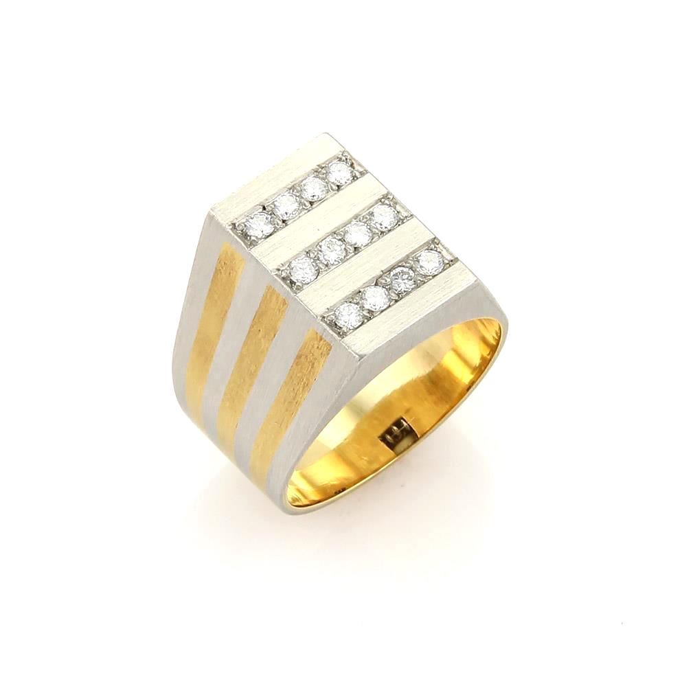 "Image of ""H. Stern Diamonds Platinum & 18K Yellow Gold Rectangular Ring Size"""
