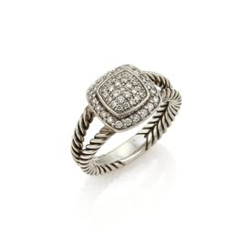 David Yurman Petite Albion 925 Sterling Silver 0.29ct. Diamond Cable Ring Size 7