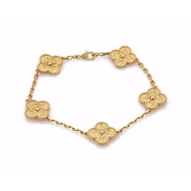 Van Cleef & Arpels Alhambra 18K Yellow Gold 5 Mofits Bracelet