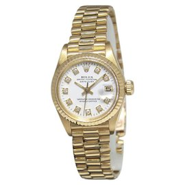Rolex Datejust 6917 18K Yellow Gold with White Diamond Dial Vintage 26mm Womens Watch