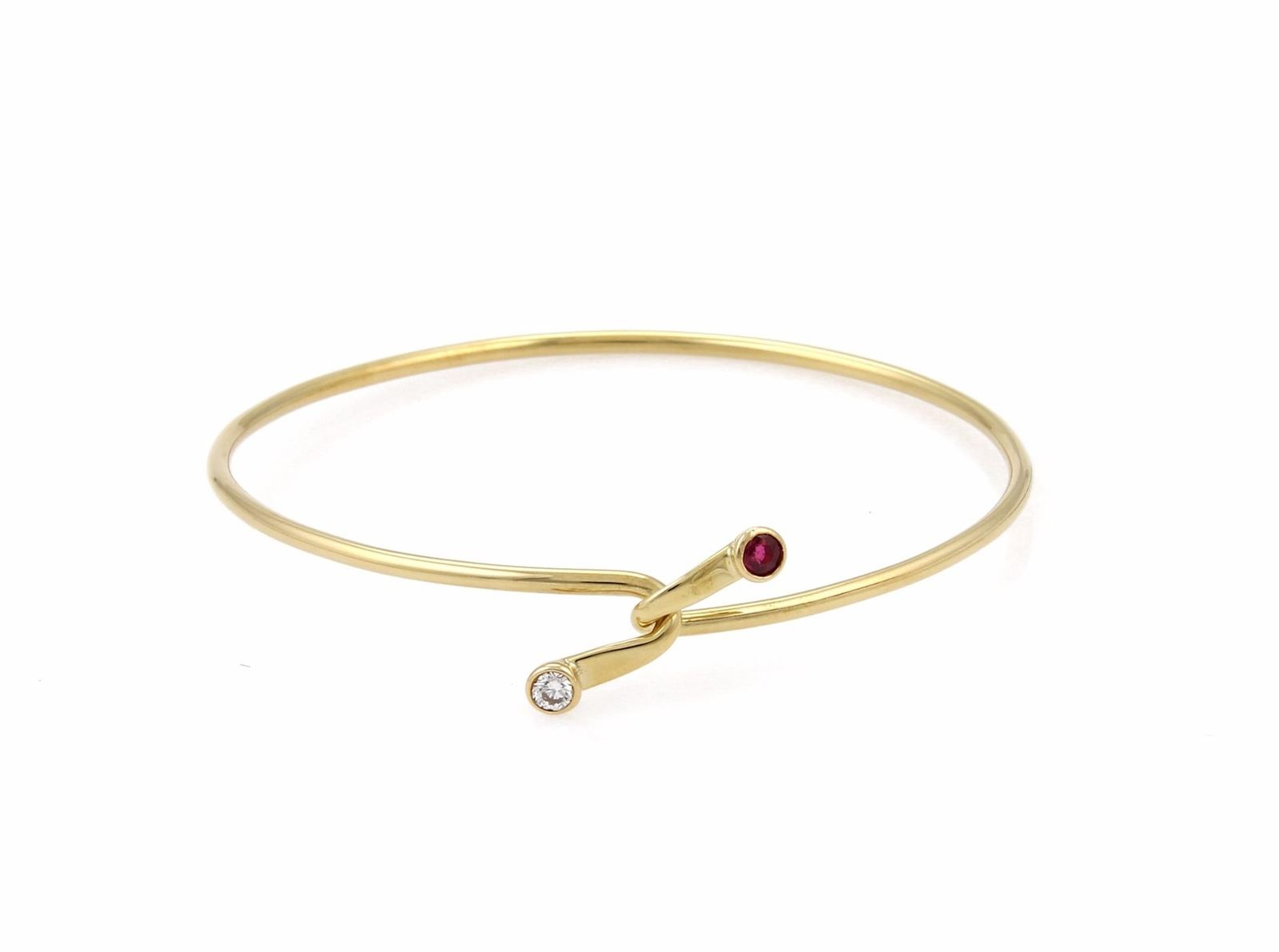 "Image of ""Tiffany & Co. 18K Yellow Gold Diamond & Ruby Hook Bangle Bracelet"""