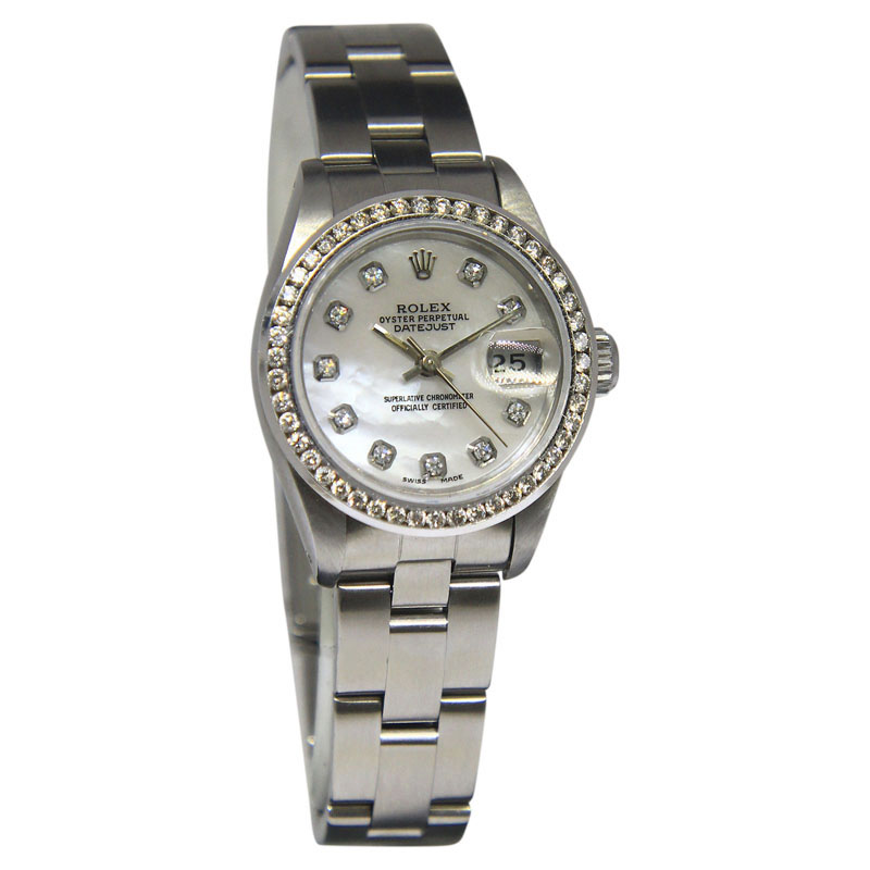 "Image of ""Rolex Datejust 69174 Stainless Steel 26mm Mother Of Pearl 26mm Womens"""