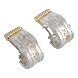 Tiffany & Co. Atlas 925 Sterling Silver & 18K Yellow Gold J Hoop Earrings