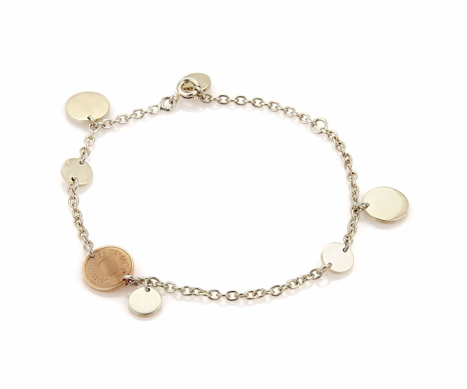 "Image of ""Hermes 18K Rose Gold & Sterling Silver Disc Charms Chain Bracelet"""