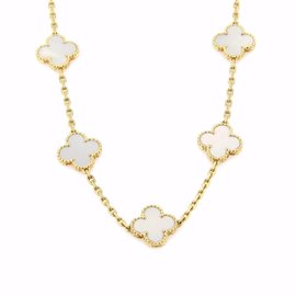 Van Cleef & Arpels Alhambra 18K Yellow Gold Mother Of Pearl Necklace