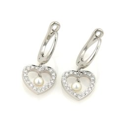 Tiffany & Co. Platinum & 18K White Gold Diamond & Pearls Heart Dangle Earrings