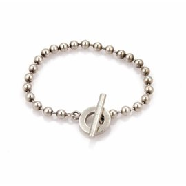 Gucci 925 Sterling Silver Bead Link Toggle Clasp Bracelet