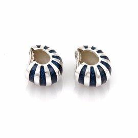 Tiffany & Co. 925 Sterling Silver & Blue Enamel Clip On Earrings