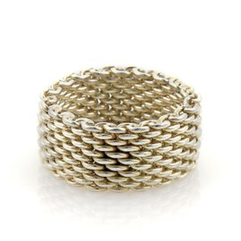 Tiffany & Co. Somerset 925 Sterling Silver Wide Mesh Band Ring Size 9