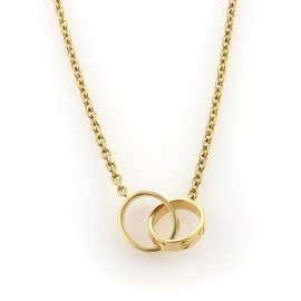 Cartier Baby Love 18K Yellow Gold Double Mini Ring Pendant Chain Necklace