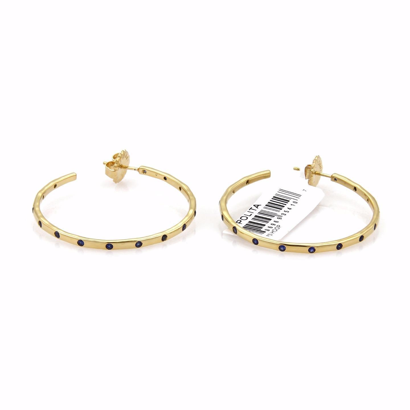 "Image of ""Ippolita Glamazon Stardust 18K Yellow Gold with Blue Sapphire Hoop"""