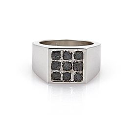 Cartier 18K White Gold with 0.80ct Rough Cut Diamond Band Ring Size 7