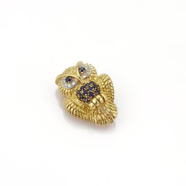 Tiffany & Co. 18K Yellow Gold with Diamond and Sapphire Owl Pin Brooch