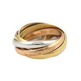 Cartier Trinity 18K Yellow White & Rose Gold 5 Rolling Band Ring Size 6