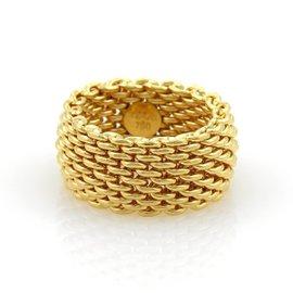 Tiffany & Co. Somerset 18K Yellow Gold Mesh Band Ring Size 5