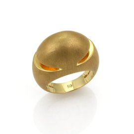 Bulgari 18K Yellow Gold Textured Fancy Dome Ring Size 5.5