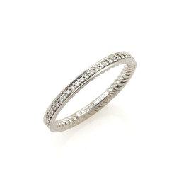 David Yurman Platinum with Half Circle Diamond Cable Wire Band Ring Size 7