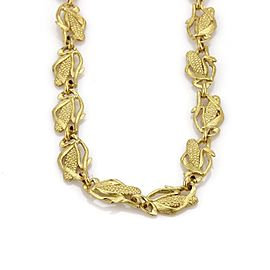 18K Yellow Gold Corn Stalk Link Necklace