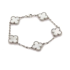 Van Cleef & Arpels Alhambra 18K White Gold with Mother of Pearl 5 Clover Bracelet