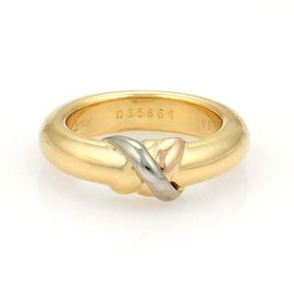 Cartier Trinity 18K Yellow, Rose & White Gold X Dome Band Ring Size 4.75