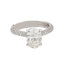 18K White Gold with 2.49ct Oval Cut Diamond Solitaire Ring Size 6