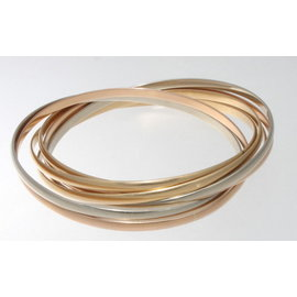 Cartier 18K Yellow, White & Rose Gold Trinity Bangle Bracelet