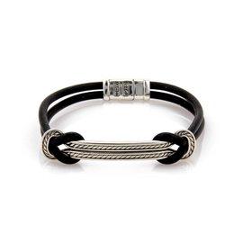 David Yurman Sterling Silver 2 Row Cable Bar Black Silicone Cord Bracelet