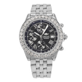 Breitling Crosswind A13355 Stainless Steel with Custom 6.00ct Diamond Automatic 44mm Mens Watch