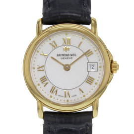 Raymond Weil Tradition 9972-P-00308 18K Yellow Gold, Stainless Steel & Leather Quartz 26mm Womens Watch