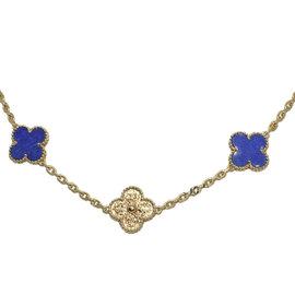 Van Cleef & Arpels 18K Yellow Gold with Lapiz Lazuli Motif Alhambra Vintage Necklace