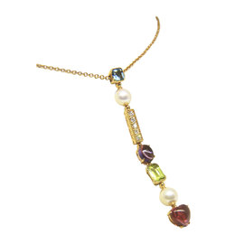 Bulgari Color Collection 18K Yellow Gold with Blue Topaz, Pearl, Diamond, Amethyst, Peridot & Pink Tourmaline Necklace