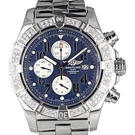 Breitling Super Avenger A13370 Stainless Steel with Diamond Bezel Automatic 48mm Mens Watch