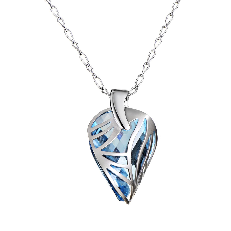 "Image of ""Superoro 18K White Gold Topaz Pendant Necklace"""