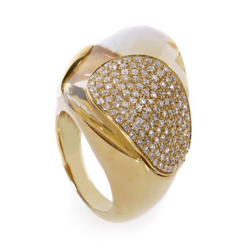 "Image of ""Superoro 18K Yellow Gold Citrine & Diamond Ring Size 7"""