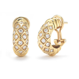 Cartier 18KY Gold and Diamond Earclips