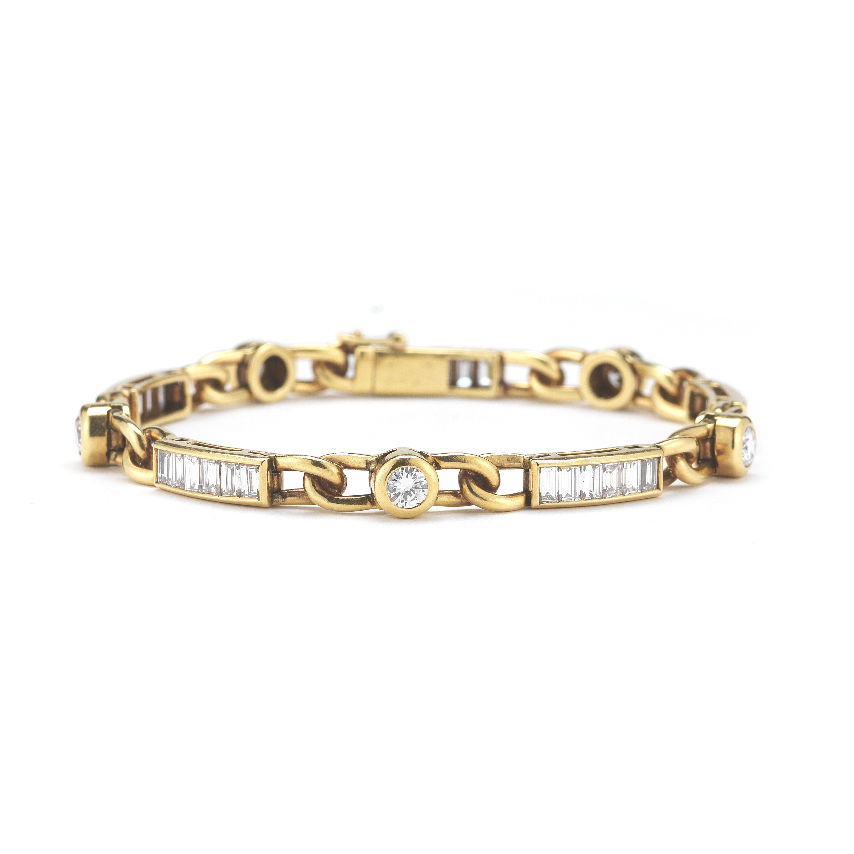 "Image of ""Cartier 18Ky Gold Round Diamond and Baguette Diamond Bracelet"""
